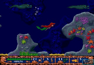 In-game screen of the game Ariel - The Little Mermaid on Sega Megadrive