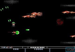 In-game screen of the game Bio-Hazard Battle on Sega Megadrive