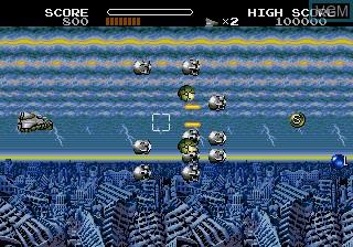 In-game screen of the game Uchu Senkan Gomora on Sega Megadrive