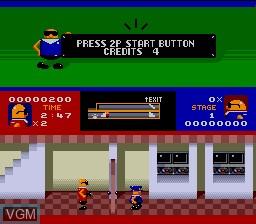 In-game screen of the game Bonanza Bros. on Sega Megadrive