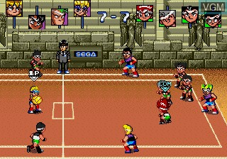 In-game screen of the game Honoo no Toukyuuji Dodge Danpei on Sega Megadrive
