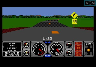 In-game screen of the game Hard Drivin' on Sega Megadrive