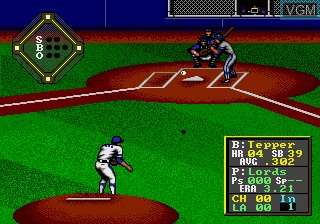 In-game screen of the game HardBall! on Sega Megadrive