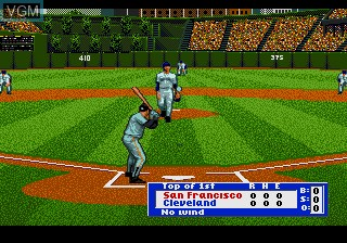 In-game screen of the game HardBall '95 on Sega Megadrive