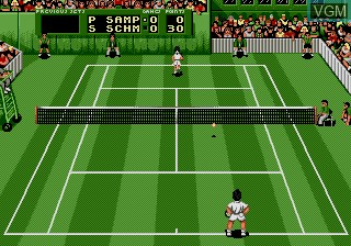 In-game screen of the game Pete Sampras Tennis on Sega Megadrive