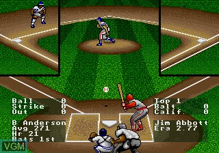 In-game screen of the game RBI Baseball 93 on Sega Megadrive