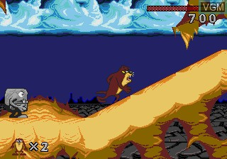 In-game screen of the game Taz-Mania on Sega Megadrive