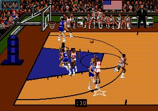 In-game screen of the game Team USA Basketball on Sega Megadrive