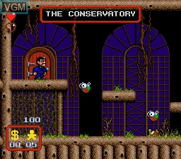 In-game screen of the game Addams Family, The on Sega Megadrive