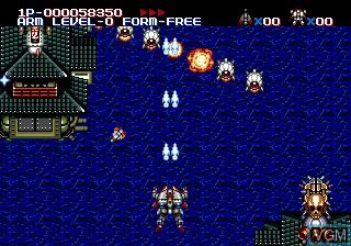 In-game screen of the game Musha Aleste - Full Metal Fighter Ellinor on Sega Megadrive