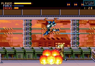 In-game screen of the game Alien Soldier on Sega Megadrive