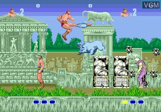 In-game screen of the game Altered Beast on Sega Megadrive