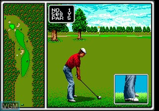 In-game screen of the game Arnold Palmer Tournament Golf on Sega Megadrive