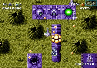 In-game screen of the game Battle Squadron on Sega Megadrive
