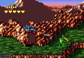 In-game screen of the game Battletoads on Sega Megadrive