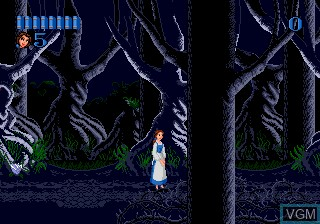 In-game screen of the game Beauty and the Beast - Belle's Quest on Sega Megadrive