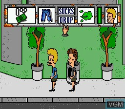 In-game screen of the game Beavis and Butt-head on Sega Megadrive