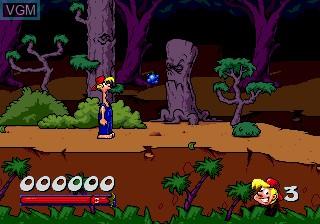In-game screen of the game Bubba N Stix on Sega Megadrive