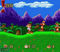 In-game screen of the game Bubsy in Claws Encounters of the Furred Kind on Sega Megadrive