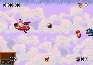 In-game screen of the game Bubsy II on Sega Megadrive
