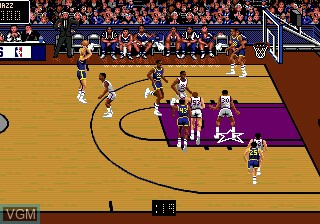 In-game screen of the game Bulls vs Blazers and the NBA Playoffs on Sega Megadrive