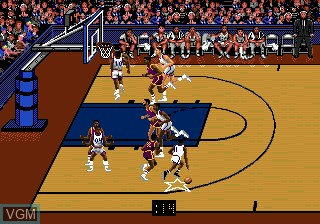 In-game screen of the game Bulls vs Lakers and the NBA Playoffs on Sega Megadrive