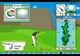 In-game screen of the game Devil's Course 3-D Golf on Sega Megadrive