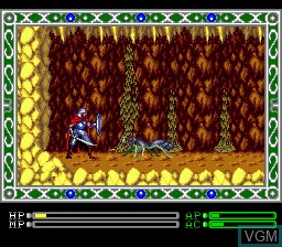 In-game screen of the game Exile on Sega Megadrive
