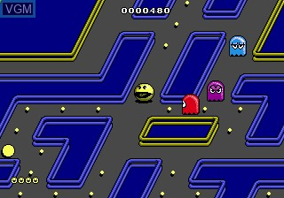 In-game screen of the game Pac-Mania on Sega Megadrive