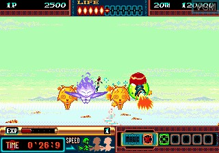 In-game screen of the game Panorama Cotton on Sega Megadrive