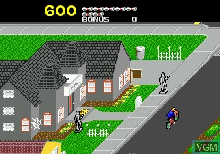 In-game screen of the game Paperboy on Sega Megadrive