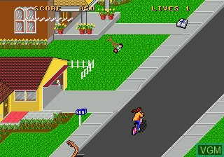 In-game screen of the game Paperboy II on Sega Megadrive