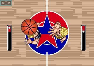 In-game screen of the game Pat Riley Basketball on Sega Megadrive