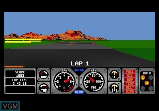 In-game screen of the game Race Drivin' on Sega Megadrive