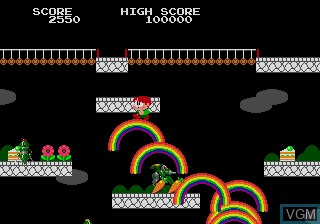 In-game screen of the game Rainbow Islands - The Story of Bubble Bobble 2 on Sega Megadrive
