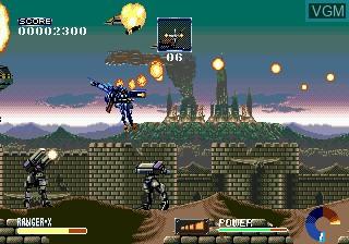 In-game screen of the game Ranger-X on Sega Megadrive