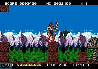In-game screen of the game Rastan Saga II on Sega Megadrive