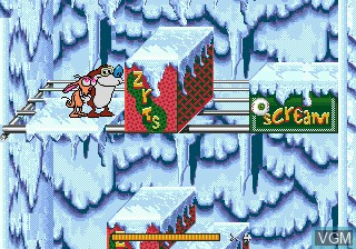 In-game screen of the game Ren and Stimpy Show, The - Stimpy's Invention on Sega Megadrive