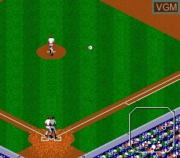 In-game screen of the game Tecmo Super Baseball on Sega Megadrive