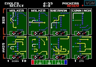 In-game screen of the game Tecmo Super Bowl on Sega Megadrive