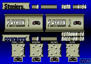 In-game screen of the game Tecmo Super Bowl II SE on Sega Megadrive