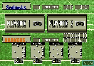 In-game screen of the game Tecmo Super Bowl III Final Edition on Sega Megadrive