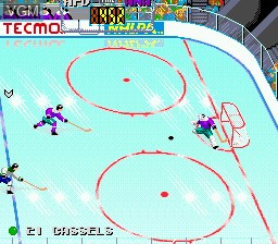 In-game screen of the game Tecmo Super Hockey on Sega Megadrive