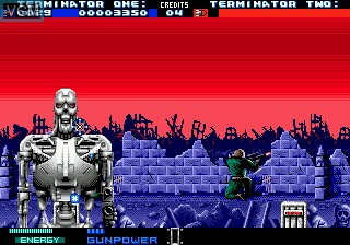 In-game screen of the game T2 - The Arcade Game on Sega Megadrive
