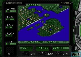 In-game screen of the game Urban Strike on Sega Megadrive