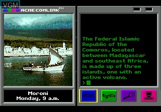 In-game screen of the game Where in the World is Carmen Sandiego on Sega Megadrive