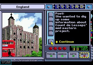 In-game screen of the game Where in Time is Carmen Sandiego on Sega Megadrive