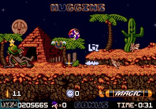 In-game screen of the game Wiz 'n' Liz - The Frantic Wabbit Wescue on Sega Megadrive