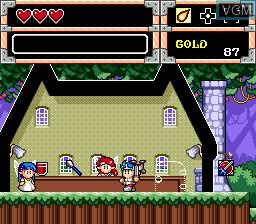 In-game screen of the game Wonder Boy V - Monster World III on Sega Megadrive