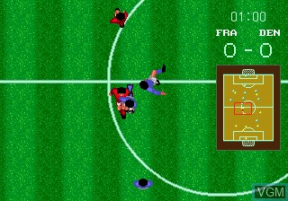 In-game screen of the game World Cup Italia 90 on Sega Megadrive